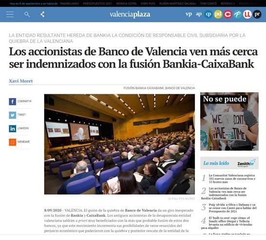 La fusión de CAIXABANK-BANKIA conllevaría la sucesión universal de Caixabank como responsable civil subsidiaria, en el lugar de Bankia, en el procedimiento penal de Banco de Valencia.