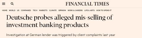 Deutsche Bank (por fin) investiga si vendió en España de forma indebida productos de inversión.